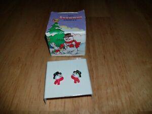 Vintage Avon Snowman Earrings with Surgical Steel Posts Unused in Box