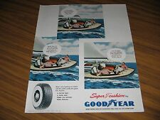 1950 Print Ad Goodyear 3 Men in Sail Boat Discuss Tires Akron,OH