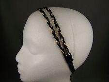 Black Gold double thin skinny headband hair band accessory braid