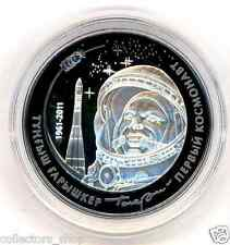 KAZAKHSTAN: Bi-color Ag+Ta coin 500 tenge First Cosmonaut GAGARIN 2011 SPACE PRF