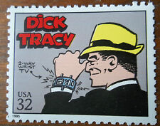 Us postage stamp commemorating old comic Dick Tracy Detective yellow hat
