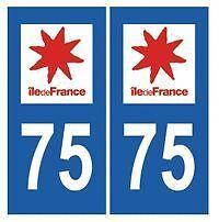 sticker autocollant plaque immatriculation auto Département Paris 75 Ile France