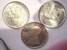 3 monete da 500 lire in argento commemorative Dante, Marconi, 100°