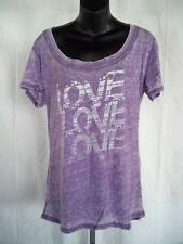 "New-Minor Flaw-""Love Love Love"" Womens 2XLarge Purple Scoop Neck Burnout Shirt"