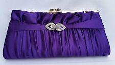 Purple Satin Evening Clutch Diamante Brooch Wedding Party Hand Bag w/ chain