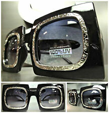 OVERSIZE CLASSIC VINTAGE RETRO Style SUNGLASSES Unique Square Black Silver Frame