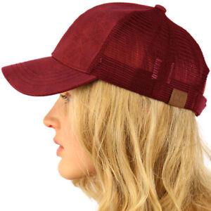 CC Everyday Mesh Trucker Faux Leather Plain Blank Baseball Cap Hat Solid Burgund
