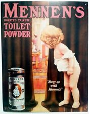 "Mennen's Borated Talcum Toilet Powder Embossed Tin SIGN Vintage Style [13x16.5]"""