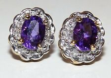 9CT YELLOW GOLD OVAL CUT AMETHYST & DIAMOND KATE CLUSTER  STUD EARRINGS