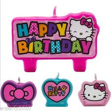 HELLO KITTY Rainbow MINI CANDLE SET (4pc) ~ Birthday Party Supplies Decorations