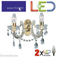 SEARCHLIGHT GOLD 699-2 LED 2 X 5.9W MARIE THERESE LIGHT CRYSTAL GLASS ELEGANT
