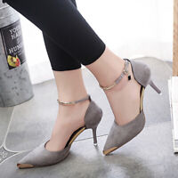 Women's Pointed Toe High Heels Causal Dress Cocktail Party Ankle Strap Shoes New