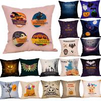 Fall Halloween Witch Crow Pillow Case Waist Throw Cushion Cover Sofa Home Decor