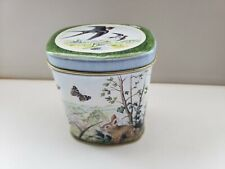 Forest Squirrel Print  Collectible Ukrainian Rustic Box Antique Squirrel Tin  USSR Vintage Round Confectionary Tin Vintage Jewellery Tin