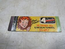 Vintage Lion Lincoln Tunnel New York City Matchbook Cover Pop's Smart Swell
