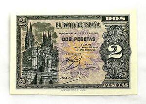Spain-Billete. Guerra Civil. 2 Pesetas. Burgos.1938. SC/UNC. Perfecto.