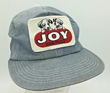 Vtg Joy Dog Food Sewn Patch Front Denim K Products Made in USA Snapback Hat Cap