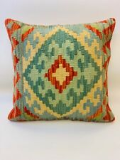 Vintage Green Multi Coloured Antique Cushion Cover of Afghan Handmade Wool Kilim