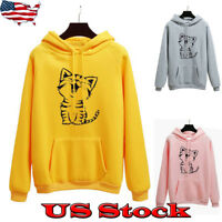 Women Funny Cat Printed Hoodies Pullover Sweatshirt Outwear Overcoats Tops NEW