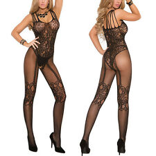 Black Women Sexy Lingerie Fishnet Floral Crotchless Bodystockings Babydoll Bodys