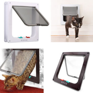 4 way Pet door Locking Small Medium Large Dog Cat Flap Magnetic Door Frame