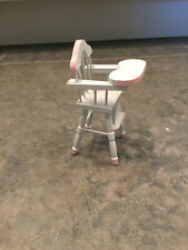 Miniature Doll house Size 1:12 White wood Baby High Chair, Pink Accents