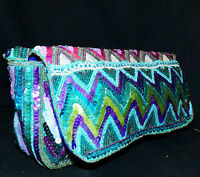 Christian Livingston Collection Peacock Blue Zig Zag Beaded Sequin Evening Bag