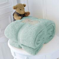 Large Soft Warm Fleece Cuddly Teddy Bear Throw Sofa Bed Blanket Duck Egg