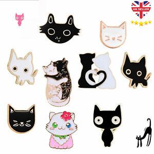 Cat Kitten Pin Badge Brooch Enamel Ladies Girls Jewellery Gift Vintage Style UK