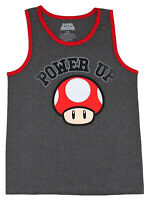 Nintendo Mario Power Up Charcoal Heather Men's Tank Top New