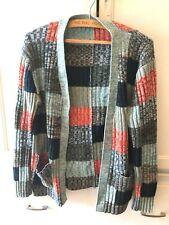 Vtg 70s Acrylic Space Dye Block Check V-Neck Ribbed Pocket Cardigan Sweater M