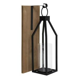 Oakly Rustic Brown Wood Candle Sconce Indoor Metal Display with Glass Pillar