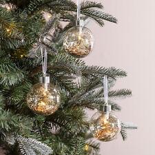 3 Pre Iluminado Brillo del oro Baubles Batería LED Árbol De Navidad Decoración Luces 4fun