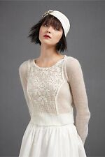 BHLDN Anthropologie Hitherto Ivory THREADWORK SWEATER Formal - Size XS NWOT $180