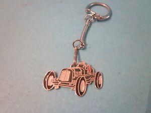 Vintage Key Ring. Metal & Enamel. Green Vintage Racing Car. Good Used Condition