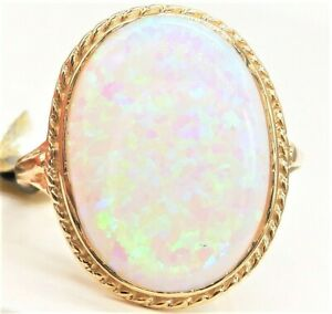 9CT GOLD RING OPAL CABOCHON 9 CARAT YELLOW GOLD SINGLE STONE  RING SIZE N  NEW