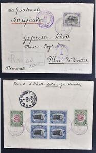 GUATEMALA to GERMANY 1912 Birds + Architecure Block on Reg Cover to ULM Cavalry