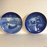 Set of 2 Bing & Grondahl B&G Country Christmas Plates 9073 1973 & 8000/9069 1969