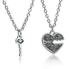 2pcs Lock and Key To My Heart Couple Necklace Set Pair Best Friend Love