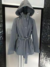 AS NEW L 14 16 MICHAEL KORS grey fleece lined coat jacket BELT HOOD warm