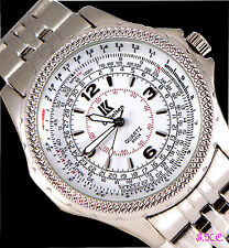 Retro Classic Silver White Gents Mens DESIGNER Mariner Diver Aviator Style Watch