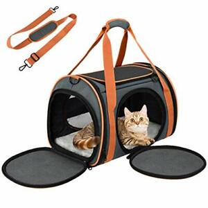 Cat Carrier Puppy Carrier with 5-Side Breathable Foldable Mesh Windows