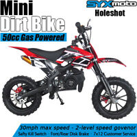 SYXMOTO Holeshot Mini Dirt Bike Gas Power 2-Stroke 49cc Motorcycle Beginner Red