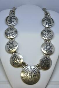 """Sterling Silver Hopi Kokopelli, Turtle,Man In The Maze Overlay Disk Necklace 29"""""""