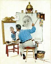 "Print - Norman Rockwell ""Triple Self-Portrait,"