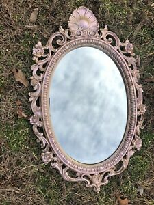 Medium Size Gold Ornate Oval Mirror With Rose Gold Color Shift Finish
