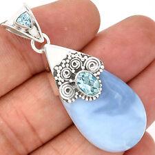 Owyhee Opal & Blue Topaz 925 Sterling Silver Pendant Jewellery