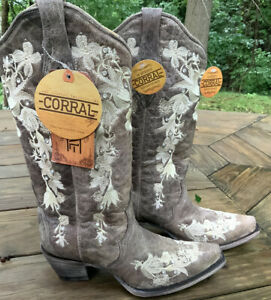 Corral Women's Taupe Western Boots W/Floral Embroidery/Sequins NNW 8.5M