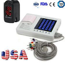 7inch Digital 3Channel 12 Lead ECG EKG Machine Electrocardiograph Interpretation