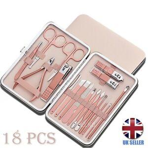 18Pcs Manicure Pedicure Cuticle Kit Nail Care Clipper Cutter Case Gift Set New